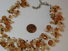 Golden Topaz Faceted Crystal MOP Shell Pearl Multi strand Necklace  10e 65