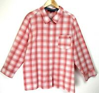 Tommy Hilfiger Women's Button Down Shirt Long Sleeve Roll Tab Sz 2x Pink White