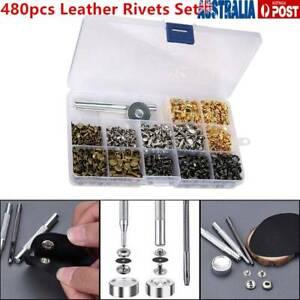 480pcs Leather Rivets Double Cap Rivet Metal Studs W/ Punch Pliers Fixing Set AU