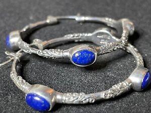 """Suarti Lapis Lazuli Sterling Silver Handmade Scrolling Earrings Lrg 1 1/2"""" Hoop"""