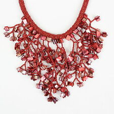 Red Coral Fusion Necklace Red Beads Bib Necklace Chunky Choker DB14