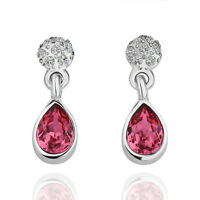18K White Gold Filled GF Drop Stud Wedding Earrings With SWAROVSKI Crystal