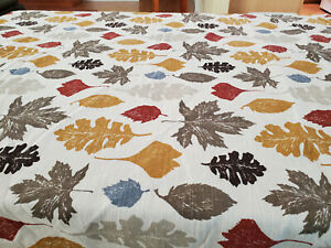 """Threshold Fall Leaves Tablecloth Gold Brown Gray Rust Leaves Rect 84"""" x 60"""" GUC"""