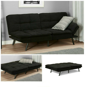 Black Suede Sofa Bed Comfortable Couch Modern Living Room Futon Furniture