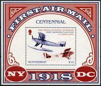 Montserrat Aviation Stamps 2018 MNH 1st Airmail Cent Curtiss Jenny 1v S/S