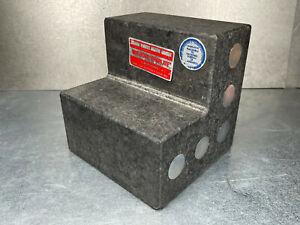 "Mitutoyo Granite Step Block 6"" x 6"" Angle Plate, Metal Inserted, 1/4-20 Holes"