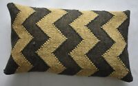 Home Decorative Pillow Cover Jute & Wool Zig-Zag Design Cushion Cover