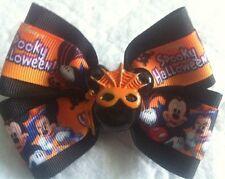 "Girls Hair Bow 4"" Wide Spooky Halloween Mickey Minnie Flatback French Barrette"