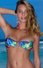 NWT $88   LULI FAMA   LARGE  AQUA DE FUEGO MULTI STRINGS BANDEAU    TOP ONLY
