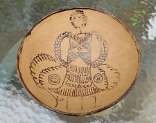fine old South American pottery bowl woman in dress decoration