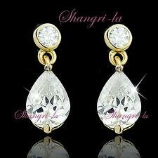 925 Sterling Silver Yellow Gold Plated Teardrop EARRINGS SWAROVSKI CRYSTAL TE19