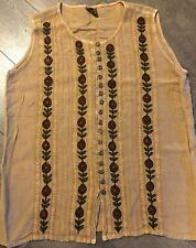 Geeta Sleeveless Top Button Down One Size Gimp Braid Trim Flower Pattern