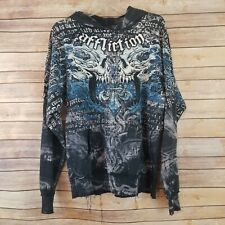 Affliction Mens Size M Pullover Hoodie Front Pocket Distressed Blue White
