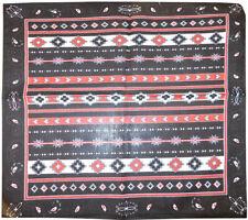 "Wholesale Lot of 12 Tribal Aztec Paisley Black 22""x22"" Cotton Bandanna"