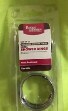 Metal Shower Curtain Hooks Set Chrome Finish Rust Resistant Silver Circular - 12