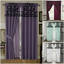 Chezmoi Collection 2 Panel Faux Silk Flocked Floral Panel Window Curtain Set