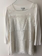 long sleeved lace-panelled Grace Hill winter-white top