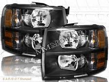 07 08 09 10-13 Chevrolet Silverado 1500 2500HD 3500HD Pickup Headlights Black
