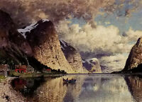 Oil painting adelsteen normann - a cloudy day on a fjord Norway landscape canvas