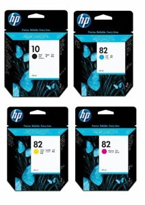 Genuine HP 10 + HP 82 Set of 4 Ink Cartridges - VAT included - FREE DELIVERY
