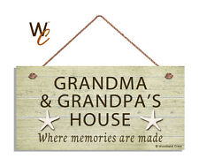 GRANDMA AND GRANDPA'S House Sign, Where Memories Are Made, BEACH 5x10 Sign