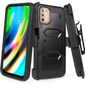 Cover for Moto G9 Plus Holster Case with Built-in Screen Protector + Belt Clip