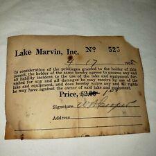 1955 Paper Fishing License Lake Marvin