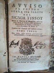 Raro libro di Medicina Avviso al popolo sulla sua salute del Signor Tissot 1775