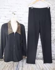 HARLOW DRESSES Vtg 2 piece pant/jacket Travel Suit Black w/ Leopard Trim 10