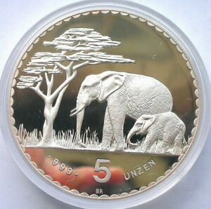Namibia 1987 Elephant German Colonial 5oz Silver Coin,Proof