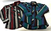 Vintage Pair Rustler Mens Pearl Snap Front Western Long Sleeve Tails Shirts Sz L