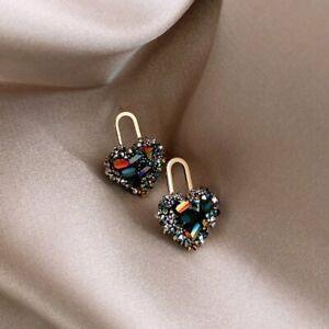 925 Sliver Love Heart Lock Zircon Earrings Ear Stud Women Wedding Jewelry Gifts