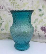 Beautiful Blue Glass Vase With Embossed Diamond Patterning 21 Cm