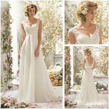 Line white/ivory Wedding Dress Bridal Gown Custom Size:  6 8 10 12 14 16  teus