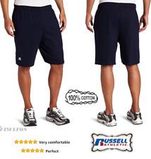 Big Size Men's Jersey 100% Cotton Baseline Short with Pockets, Navy, XXXX-Large