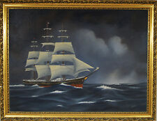 """John Coward  Original Oil Painting """"The Clipper Ship Flying Clouds"""" 1968"""