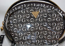 NWT Guess Black & White Textured G Logo Pattern & Clear Vinyl Cosmetic Bag Set
