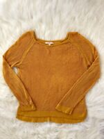anthropologie Skies Are Blue Rayon Mustard Yellow Sweater Womens Size Xsmall