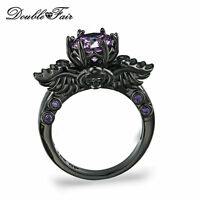 New Round Cut Purple Cubic Zirconia Ring Black Gold Plated Skull Rings For Women