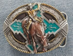 BULL RIDER COWBOY HAT RIDING RODEO WESTERN BELT BUCKLE BERGAMOT MADE IN USA NEW