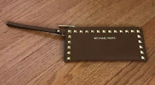 Micheal Kors Brown Studded Large Zip Saffiano Wristlet Retail $128 card wallet