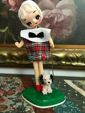 1960s Made Japan Stockinette Big Eye Doll Pink Poodle Dog Chain Leash Stand 8""