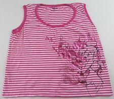 Womens DISNEY TINKER BELL FLOWERS Pink Striped Sleeveless Tanktop Size 1X (XL)