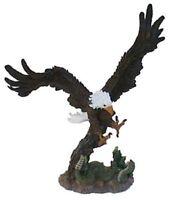 Fliegender angreifender Adler Weißkopfseeadler Figur handbemalt aus Polyresin