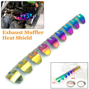 Motorcycle Exhaust Pipe Heat Shield Protection Cover Adjustable Mounting Clamps