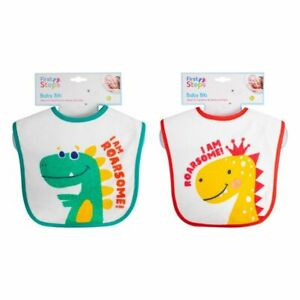 First Steps Dinosaur Baby Messy Feeding Bib (2 Assorted Designs) PEVA Back