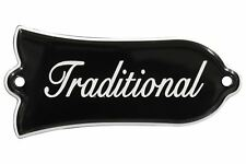 """Engraved """"Traditional"""" Truss Rod Cover for Gibson Les Paul Guitars 2ply B/W"""