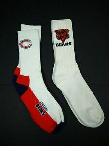 2 Pair Vintage 80s 90s Chicago Bears Socks NFL Football Mens 10-12 Tube