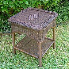 International Caravan 3188-AP Pvc Resin & Steel Outdoor Side Table Antique Pecan