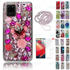 3D Women Bling Diamonds Pink Flowers Butterfly Phone Cases With Crystals Lanyard